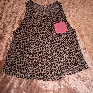 XS Victoria's Secret Pink Cheetah Print Tanktop